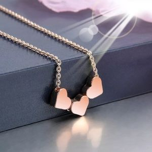 Dainty Triple Heart Charm Layer Necklace Rose Gold